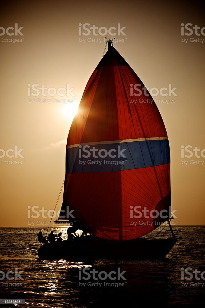 Sillouette Sailing in California Racing Crew Red Genoa royalty-free stock photo