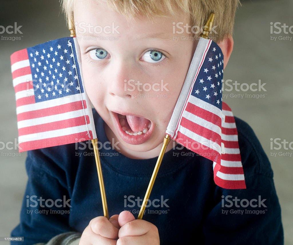 Silly American Flag Boy royalty-free stock photo