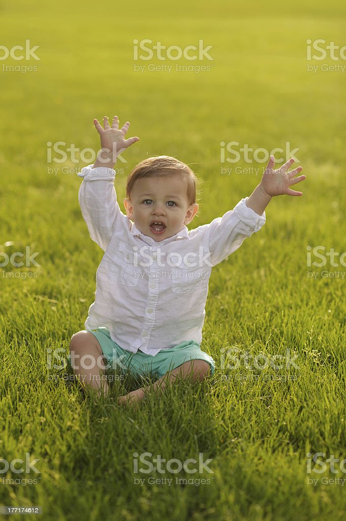 Silly Baby Playing Outside royalty-free stock photo