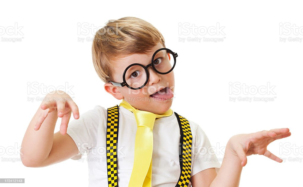 Silly boy making faces royalty-free stock photo
