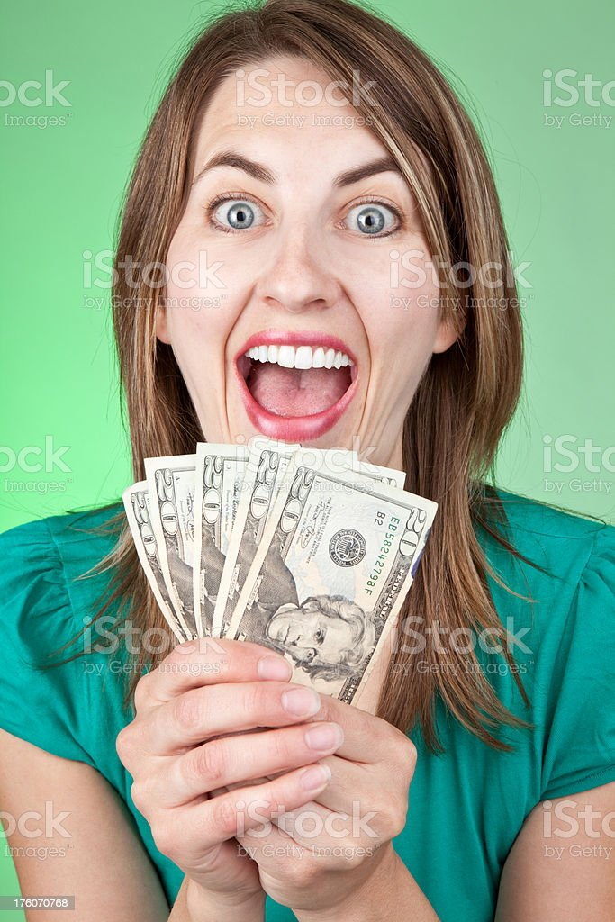 Silly Excited Woman With Cash royalty-free stock photo
