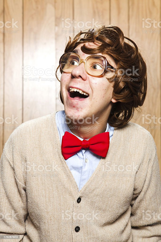 Silly Face Making Nerd College Student With Glasses royalty-free stock photo