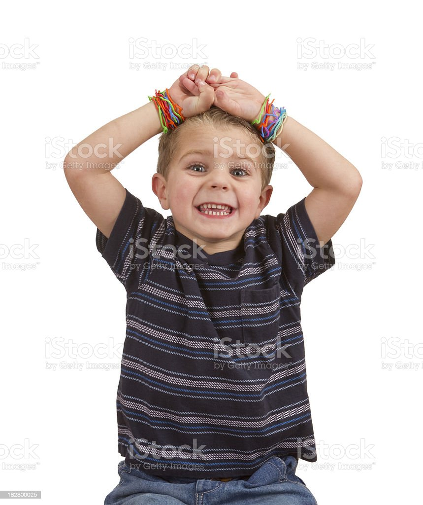 Silly Shape Rubber Band Bracelets, Child's Arms Hands Above Head royalty-free stock photo