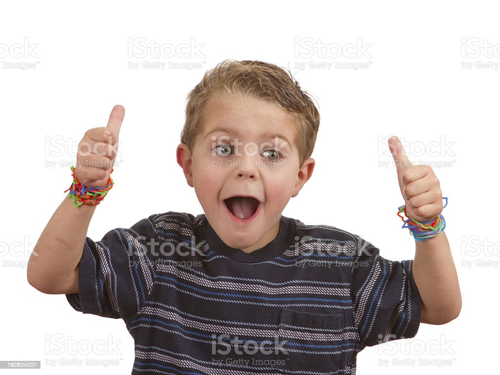Silly Shape Rubber Band Bracelets, Child's Arms Thumbs-Up royalty-free stock photo