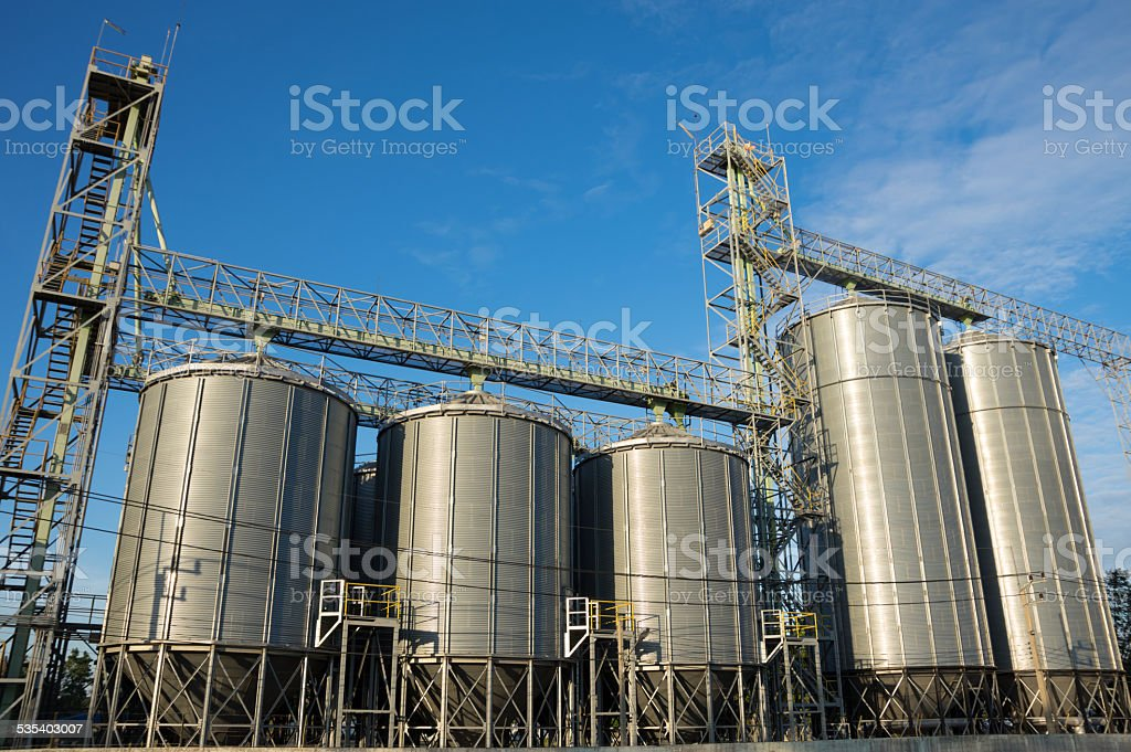 Silo in agricultural factory. stock photo