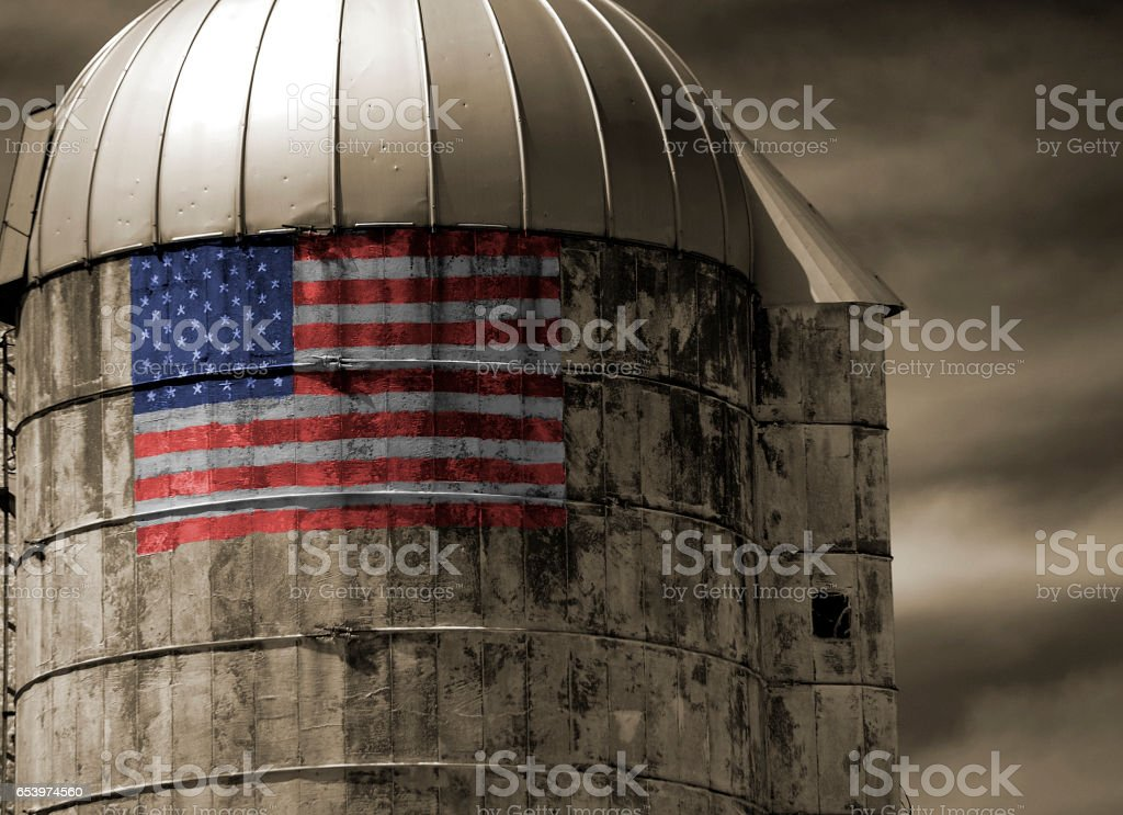 Silo with Flag stock photo
