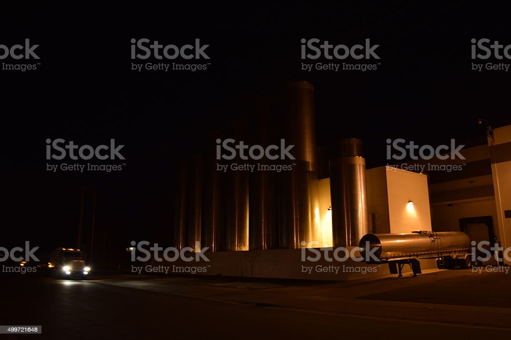 Silos At Milk Storage Plant Tanker With Dropoff stock photo