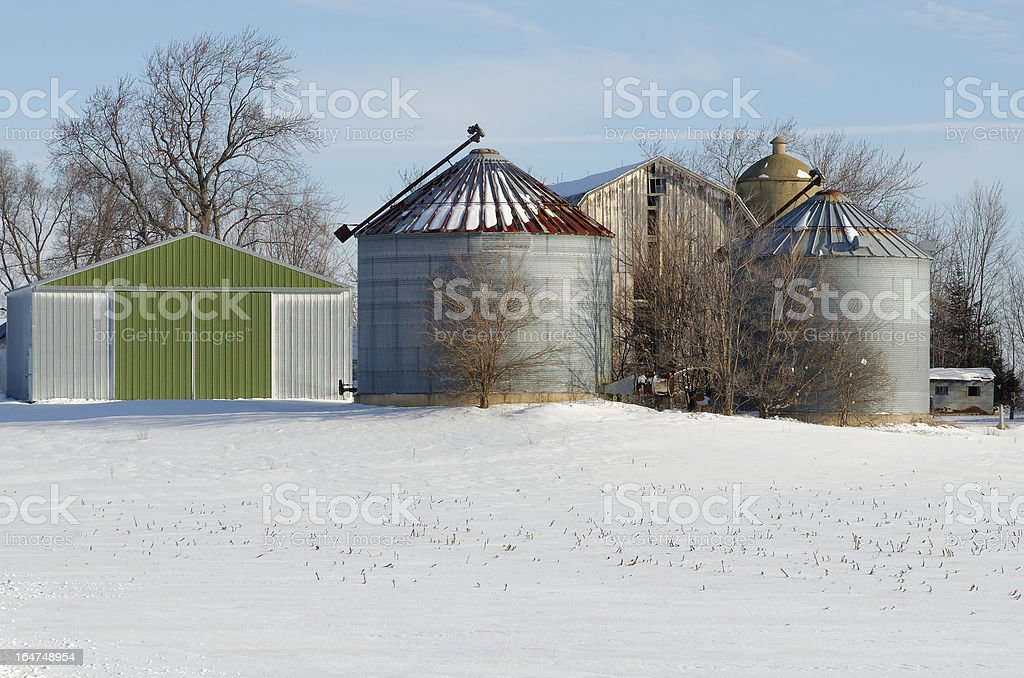 Silos Hiding Red Barn royalty-free stock photo