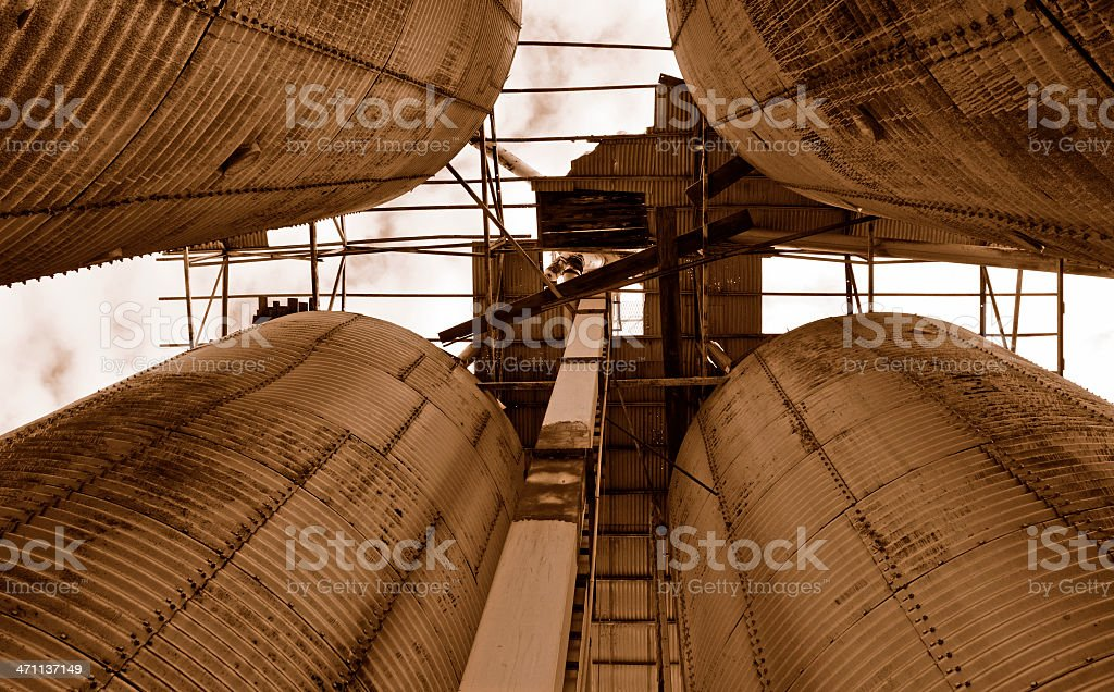 Silos in Sepia royalty-free stock photo