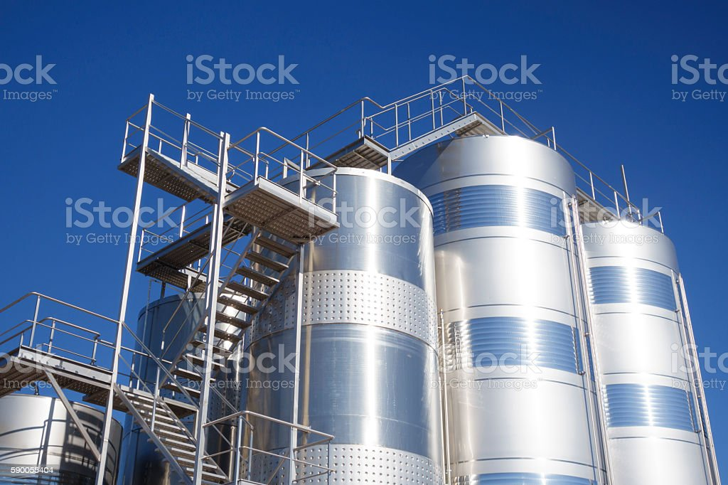 Silos in the industry stock photo