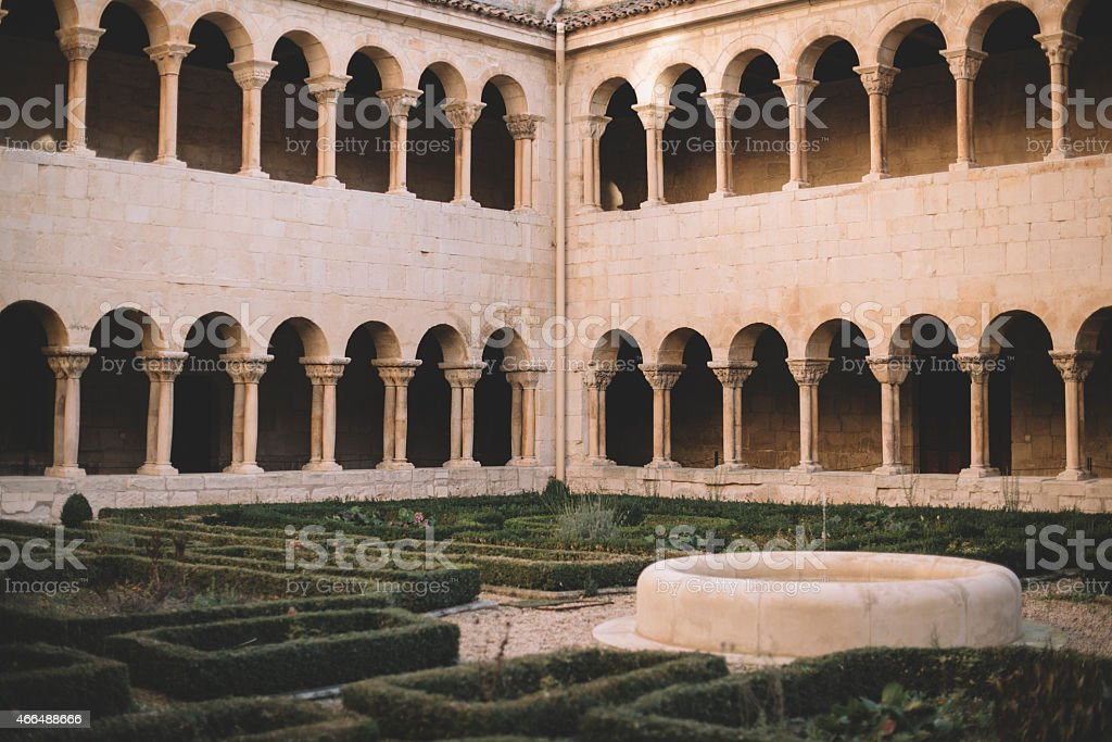 Silos Monastery Cloister, Burgos stock photo