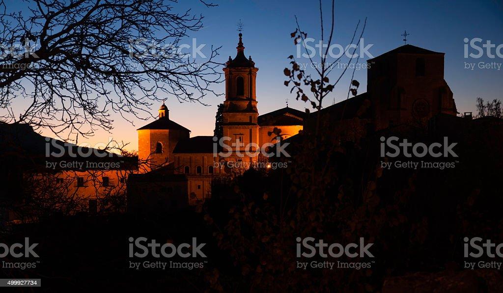 Silos monastery in twilight stock photo
