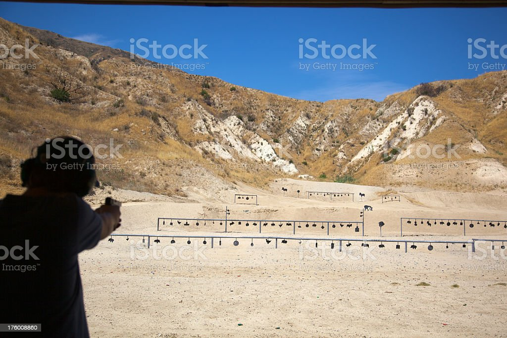 Silouette at Gun Shooting Range in Los Angeles County royalty-free stock photo