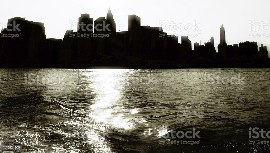 Silouette of Manhattan Skyline, New York. stock photo