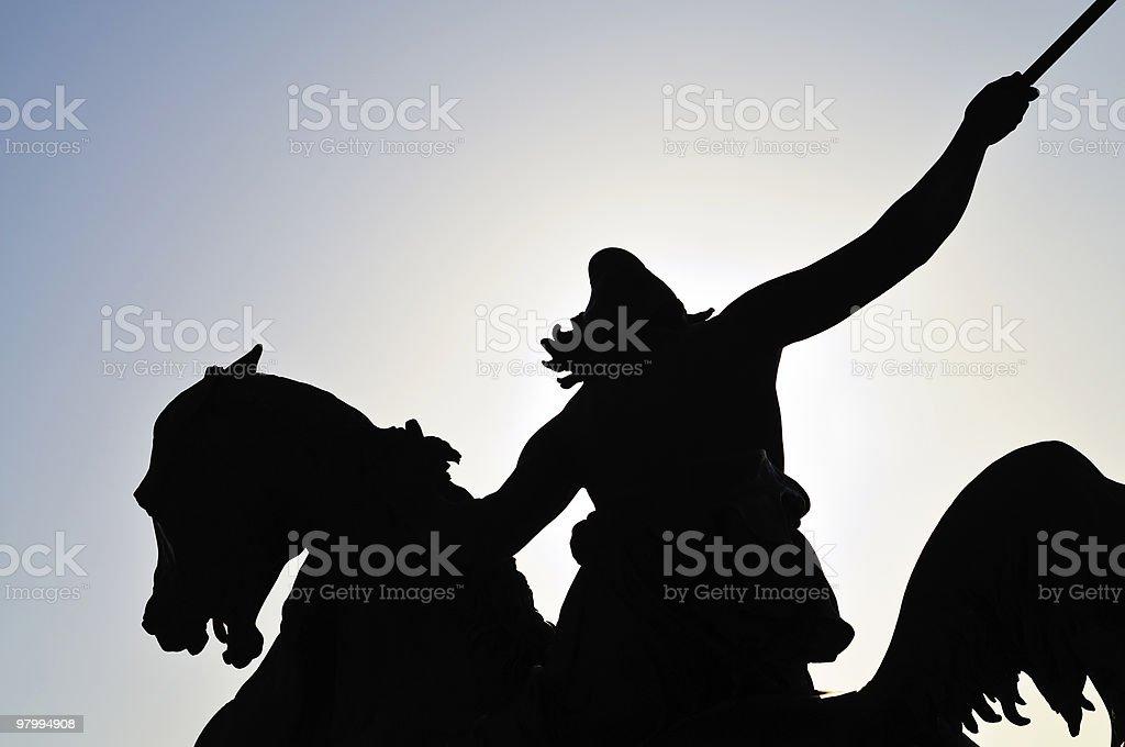 Silouhette of a statue stock photo