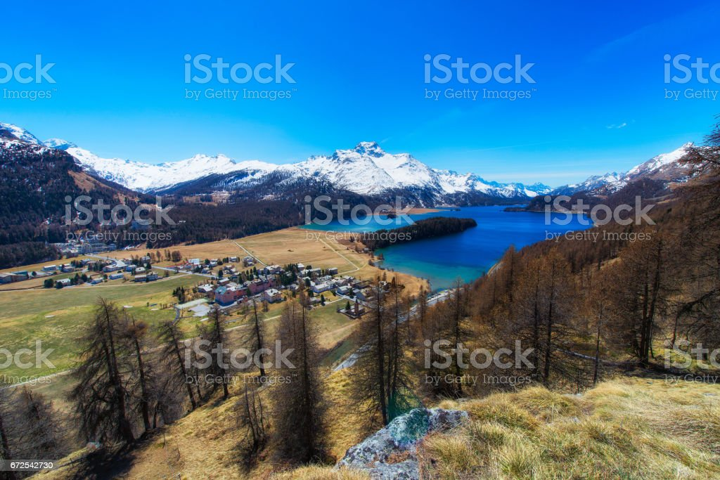 Sils Maria village of Engadine valley near Saint Moritz With Sils Lake stock photo