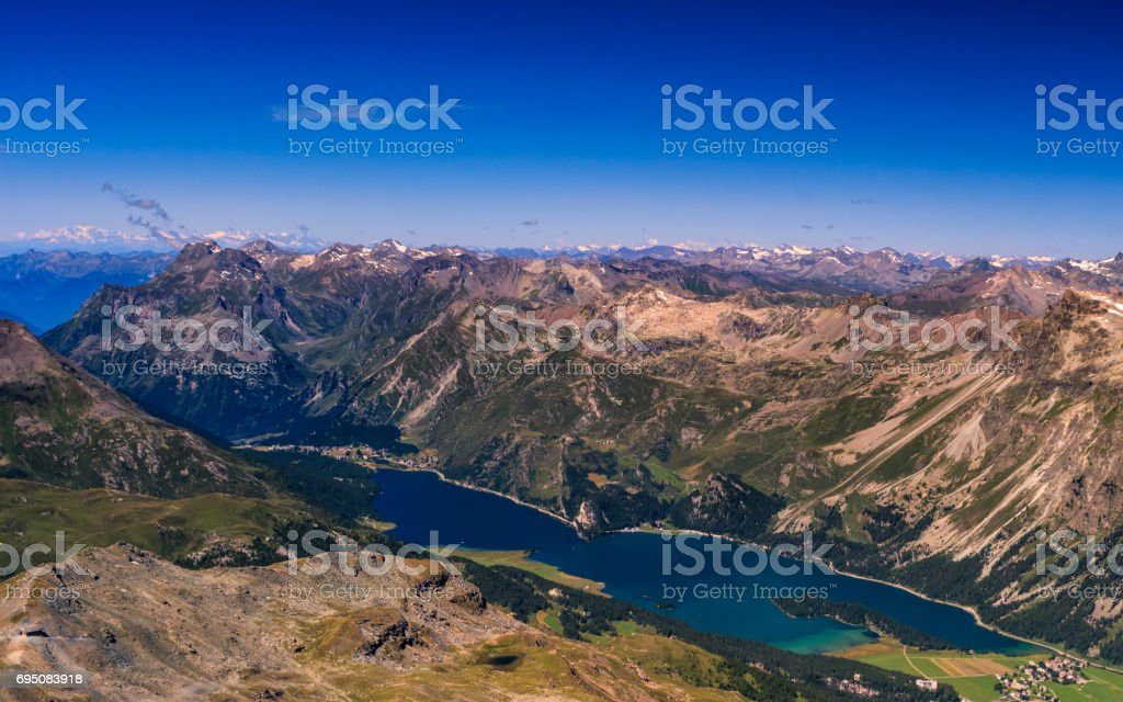 Silsersee from Corvatsch 3303m. stock photo