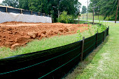 Silt fence erosion control at construction site