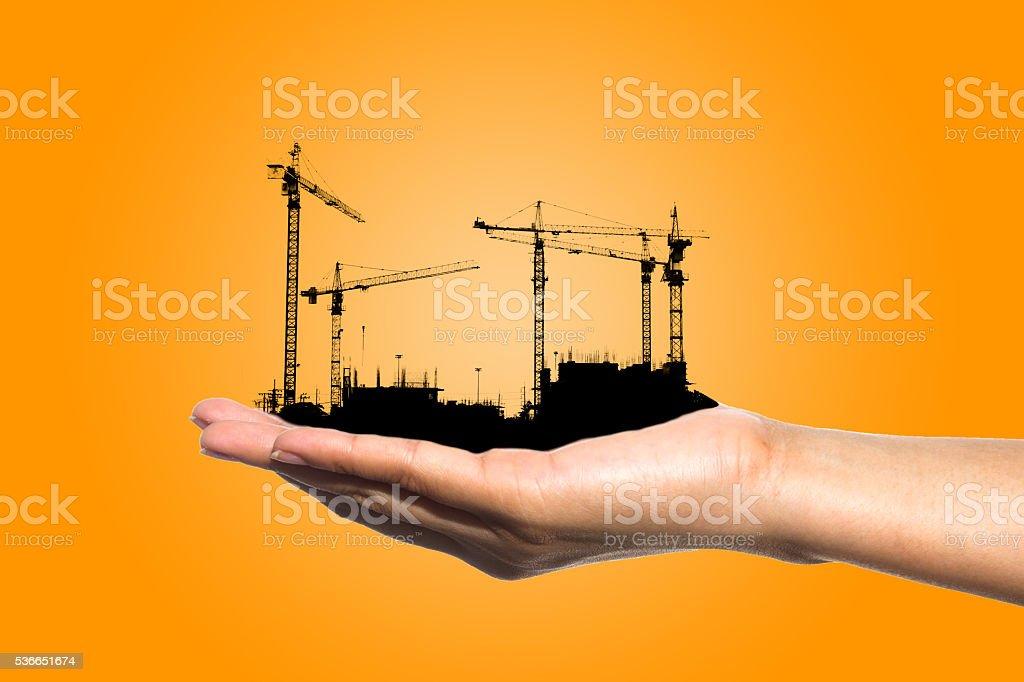 siluate construction stock photo