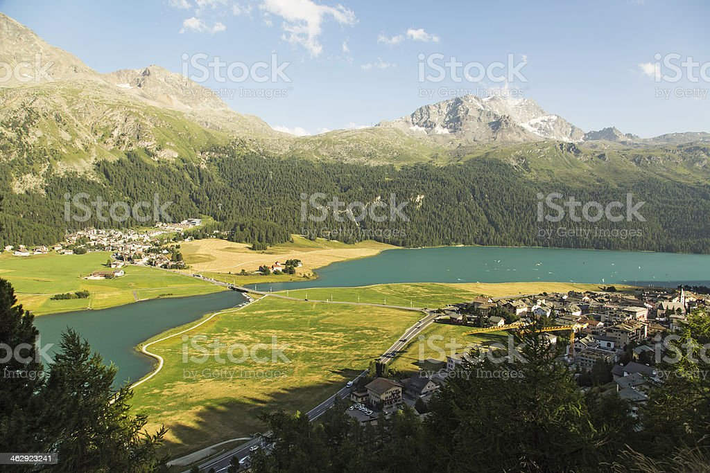 Silvaplana and Surlaj-Engadine-Switzerland stock photo