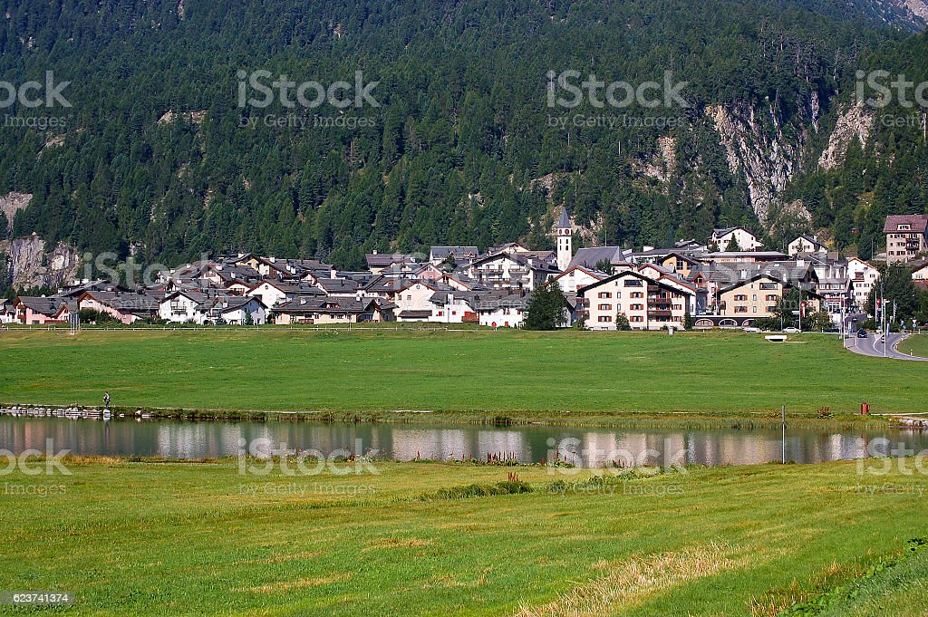 Silvaplana Lake and Village - Swiss Alps stock photo