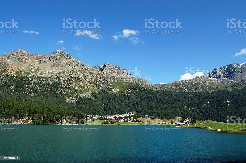 Silvaplanersee - Silvaplana Lake and Swiss Alps stock photo