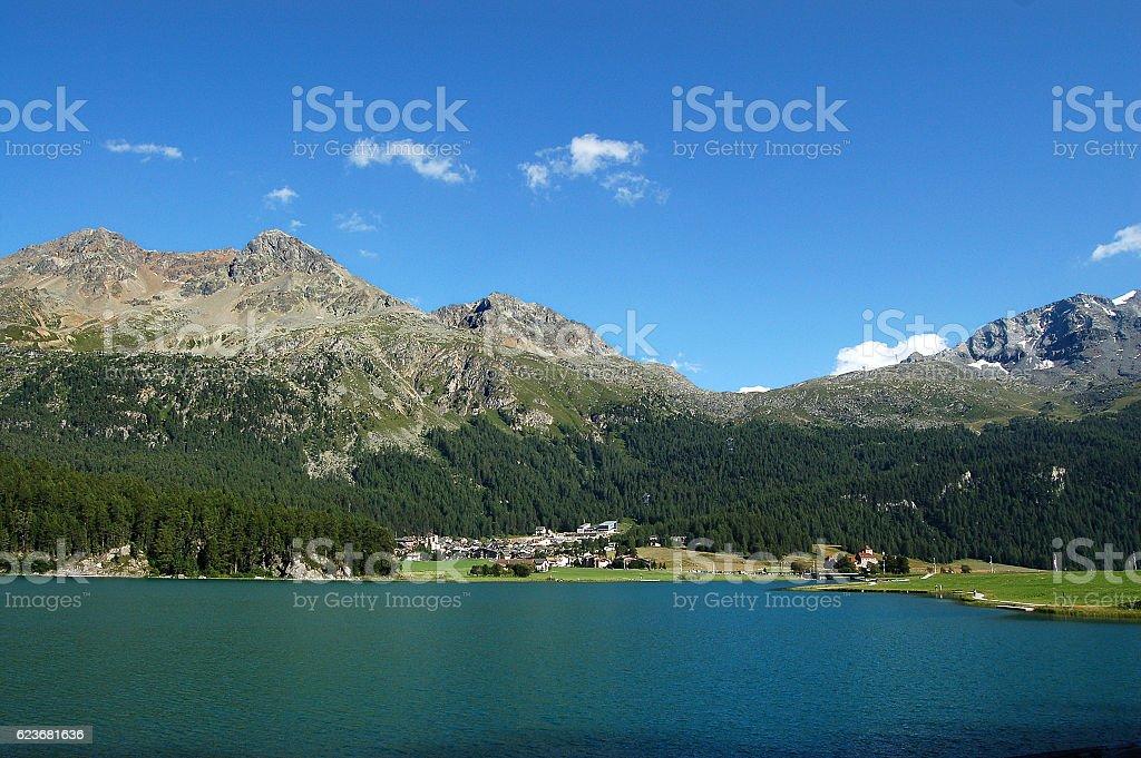 Silvaplanersee - Silvaplana Lake and Swiss Alps stock photo