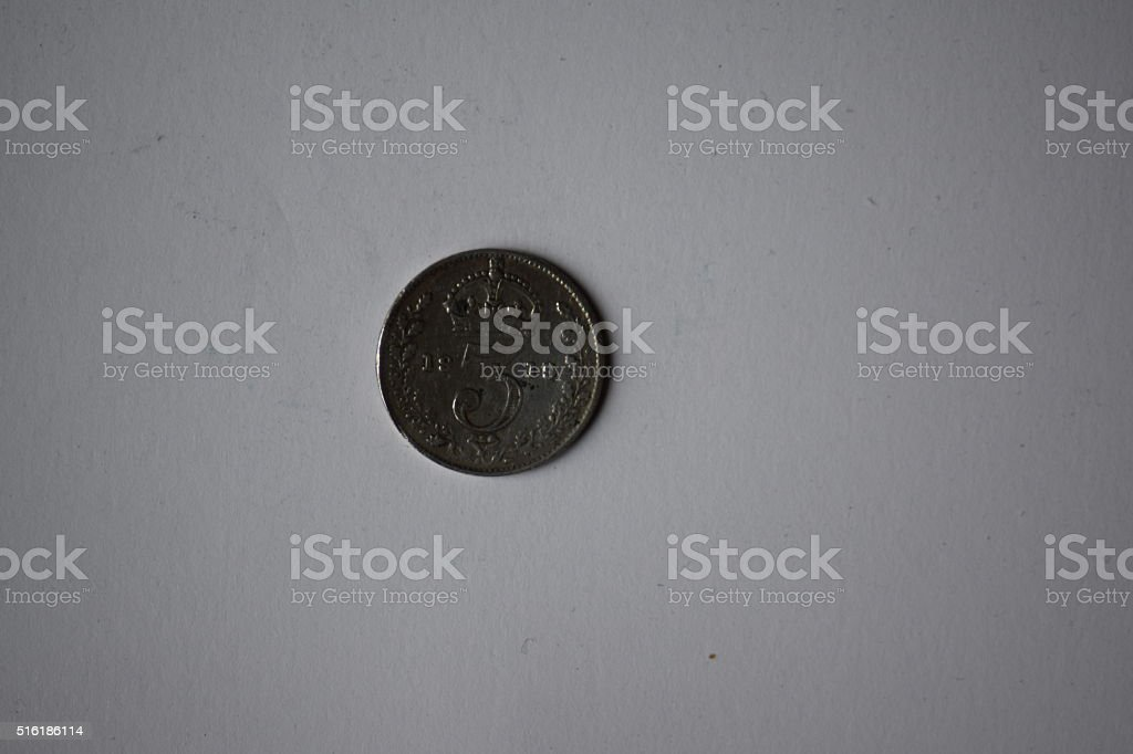Silver 3d coin, reverse view stock photo