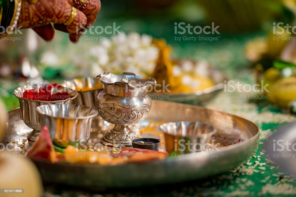 Silver Aarthi plate stock photo