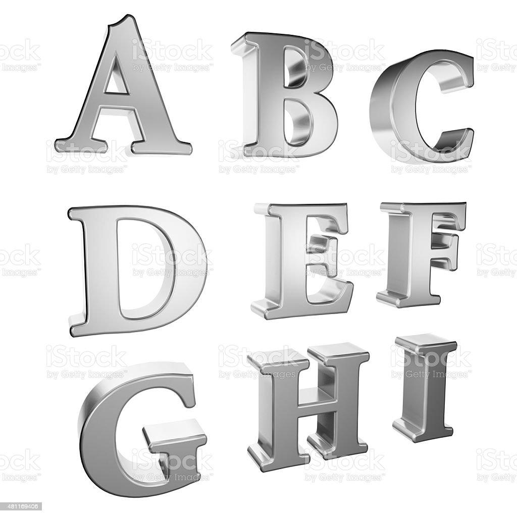 Silver alphabet A to I stock photo