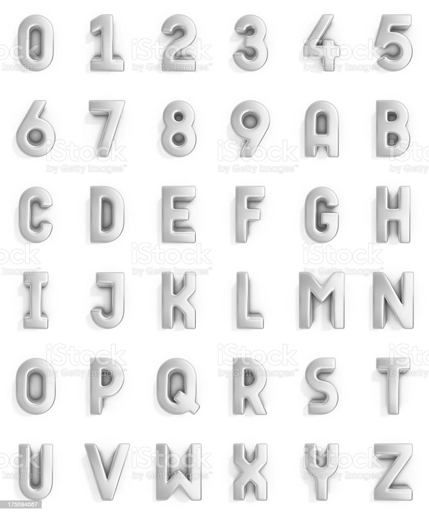 silver alphabet and numbers stock photo