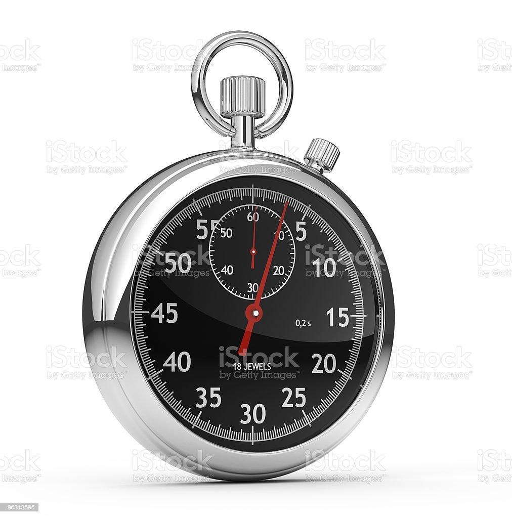 Silver analog stopwatch on white royalty-free stock photo