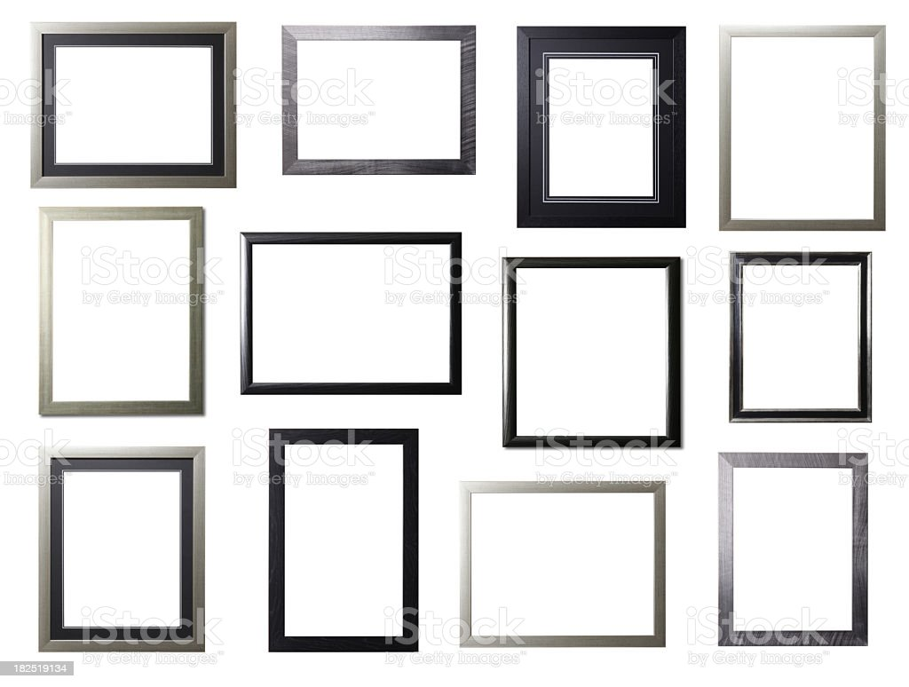 Silver and Black Frame Selection stock photo