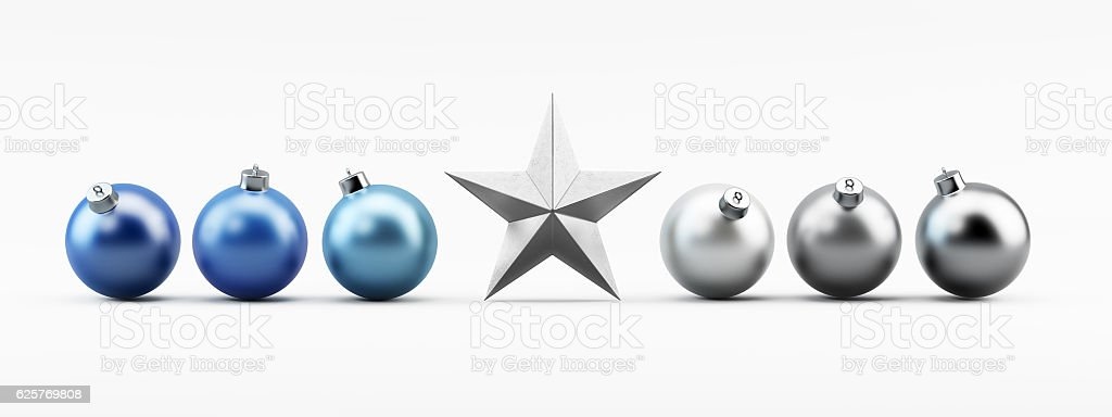 Silver and Blue Christmas Baubles on White with Silver Star stock photo