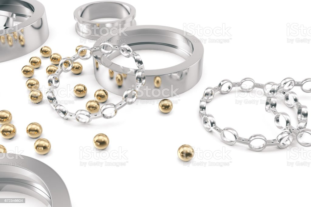 Silver and gold balls bearings on a white background, 3d rendering stock photo