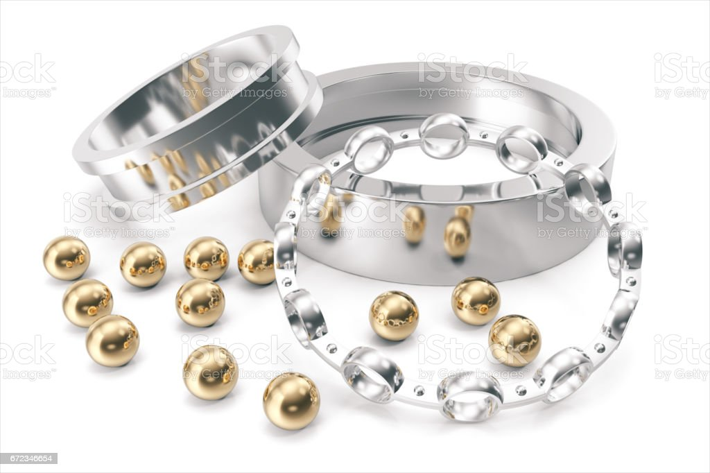 Silver and gold balls bearings on a white background. 3d rendering stock photo