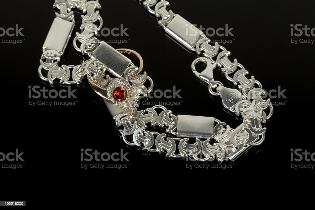 silver and gold jewelry royalty-free stock photo
