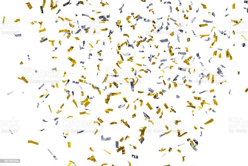 Silver and Gold metallic confetti falling against white background stock photo