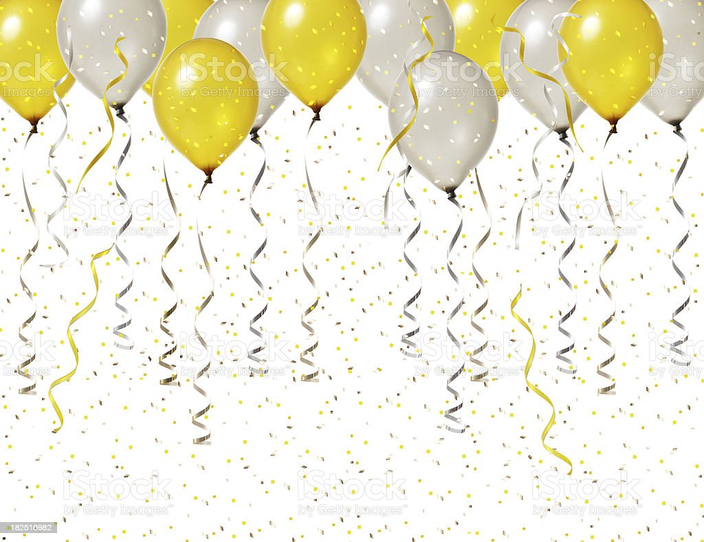 Silver and gold party balloons with streamers and confetti floating...