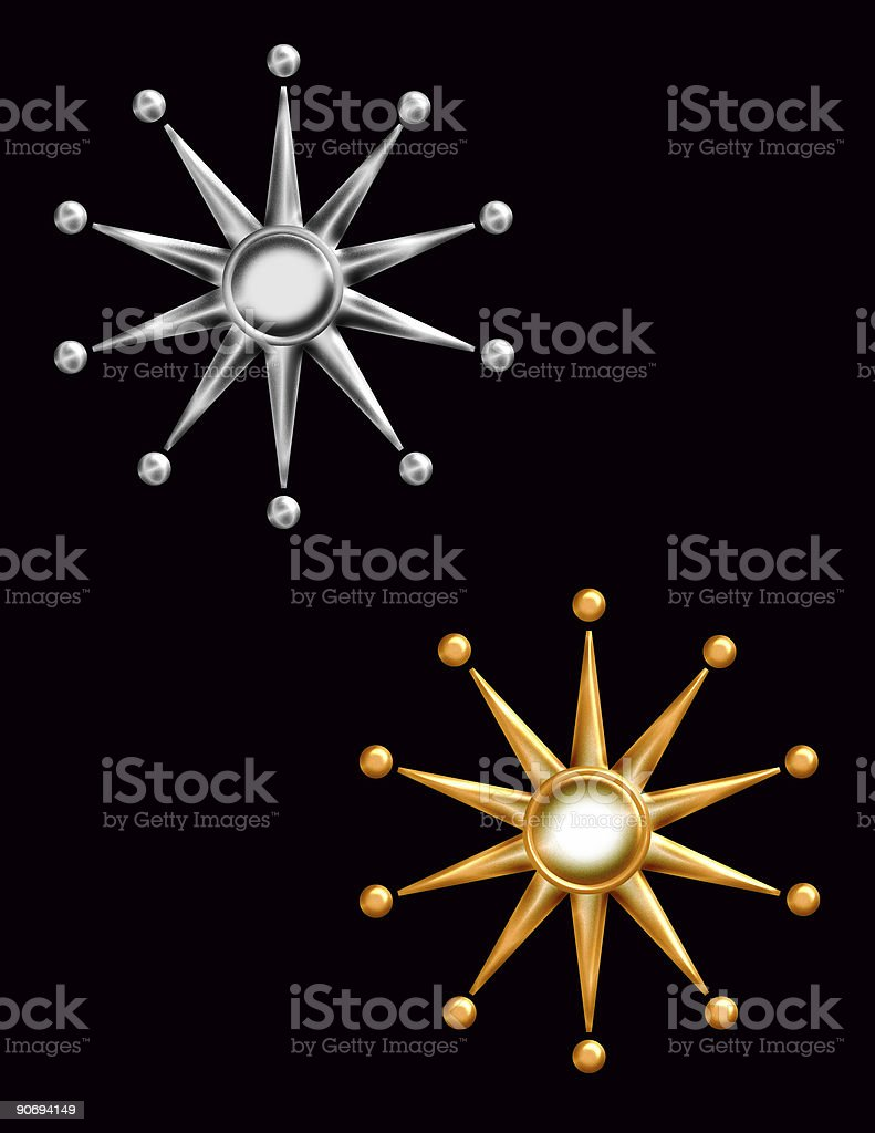 Silver and Gold Stars stock photo