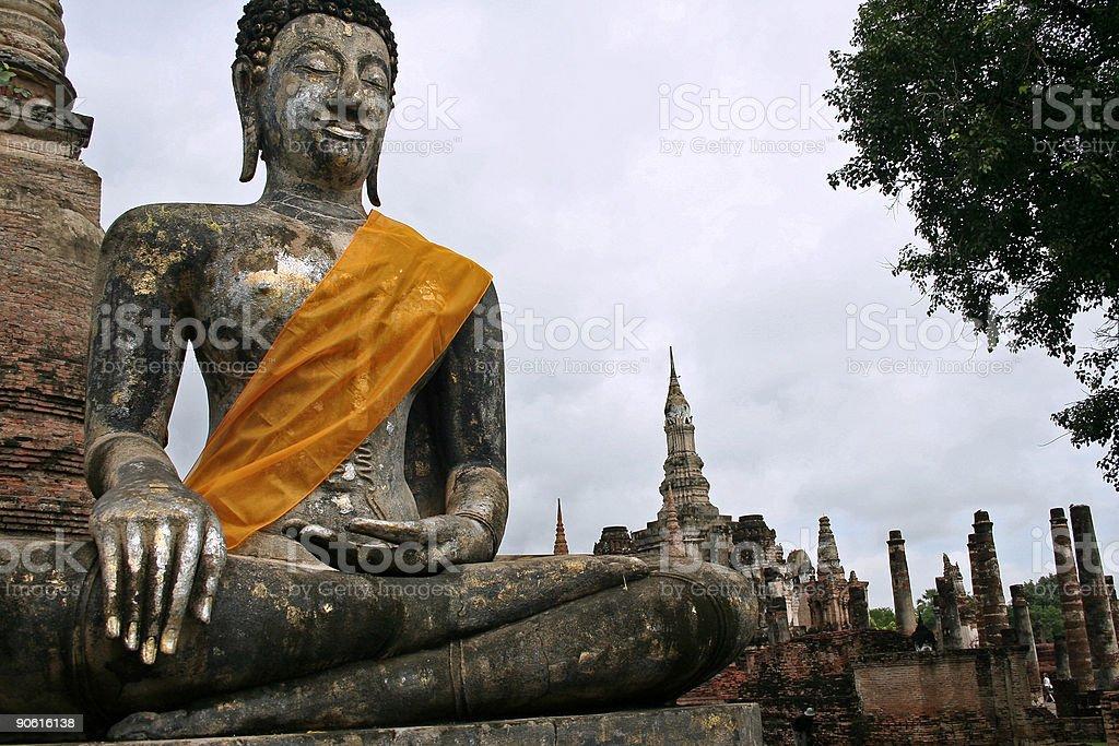 silver and gold sukhothai buddha thailand royalty-free stock photo