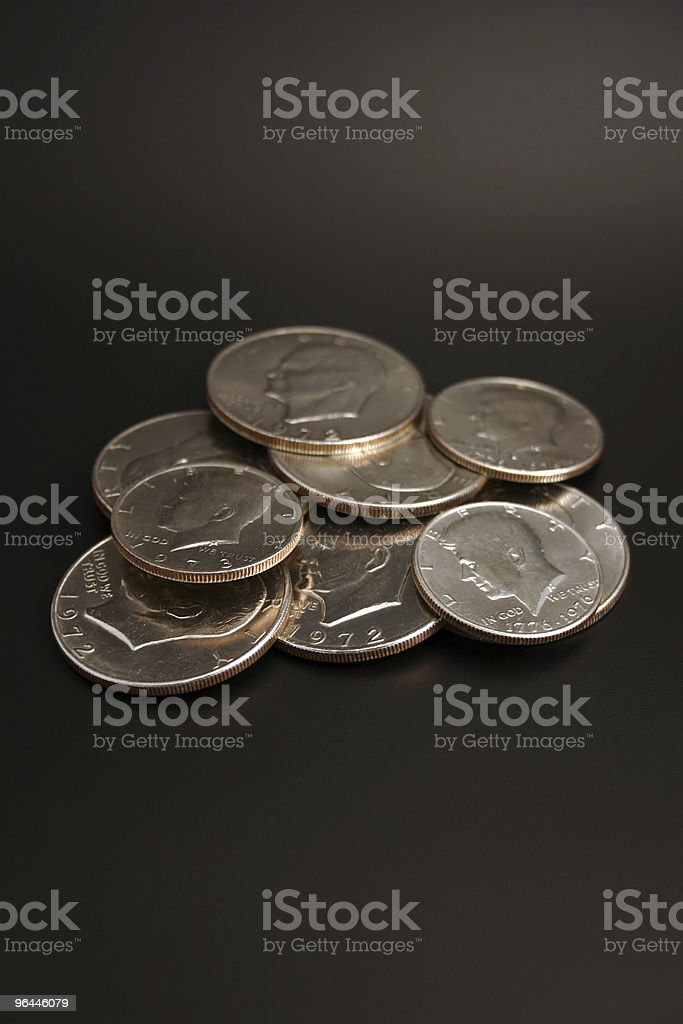 Silver and Half Dollars stock photo