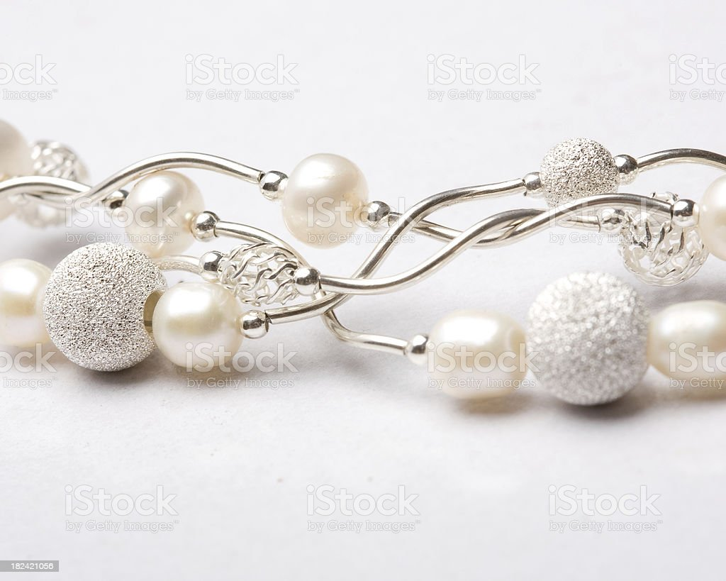 Silver and pearl jewelry stock photo