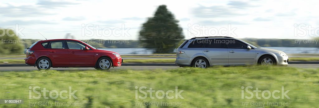 silver and red cars royalty-free stock photo