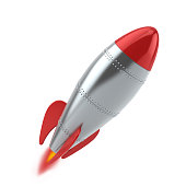 Silver and red rocket launching against white background