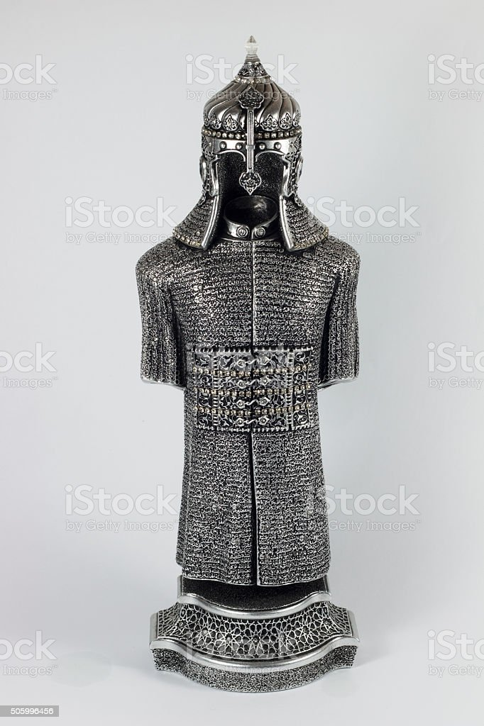 silver armor historical silver armor and helmet stock photo