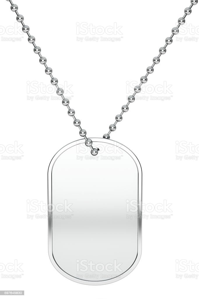 Silver Army Identity Tag. 3d Rendering stock photo