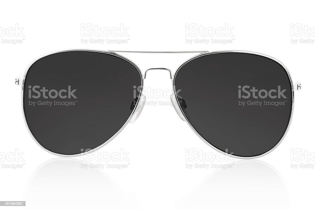 Silver aviator glasses with black lenses stock photo