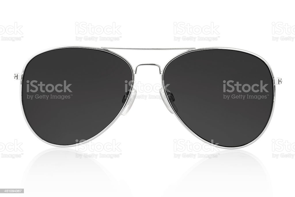 Silver aviator glasses with black lenses stock photo
