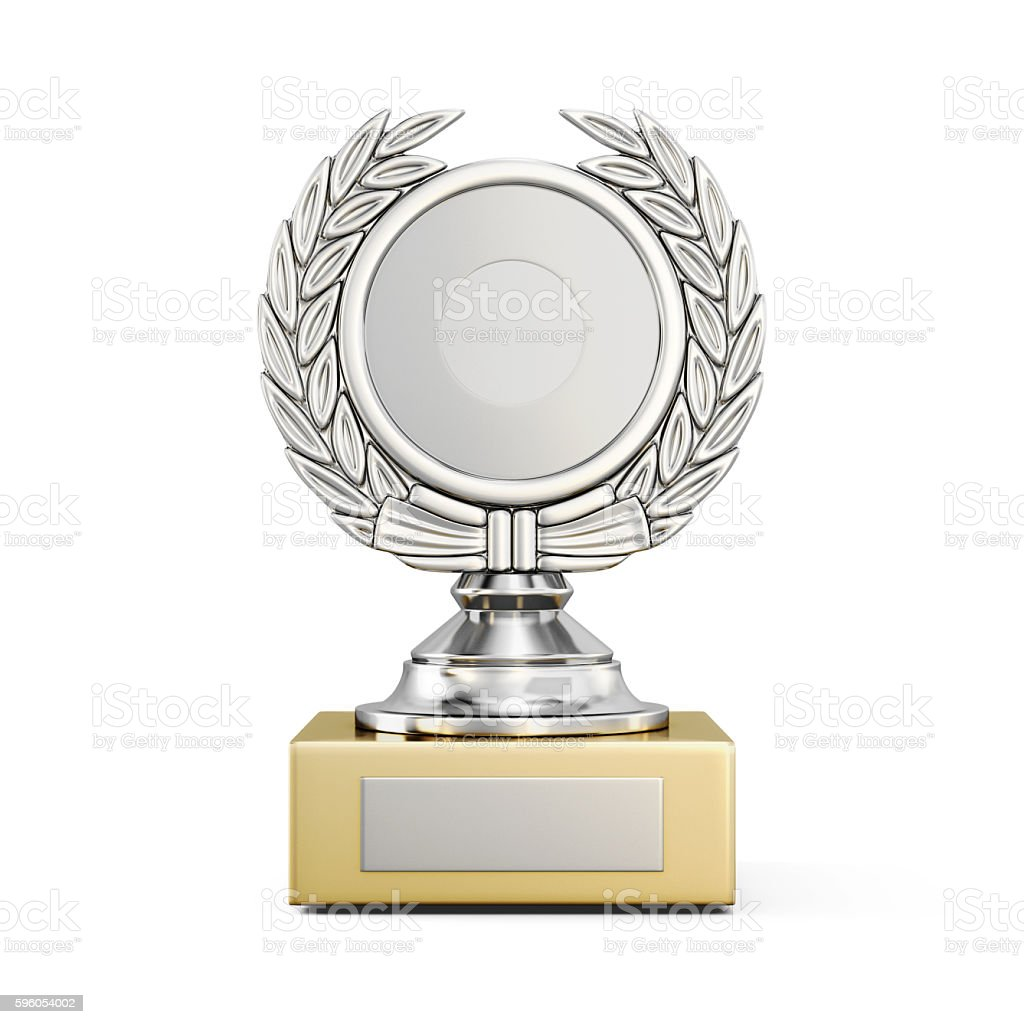 Silver award with a Laurel wreath isolated on white background.3 stock photo